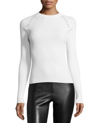 Thierry Mugler Ribbed Long Sleeve Sweater W Grommets Off White Open Off White