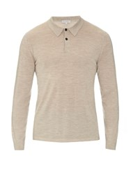 Gieves And Hawkes Long Sleeved Fine Knit Polo Shirt Beige