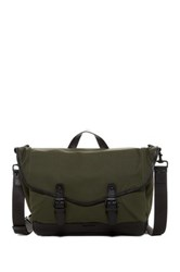 Cole Haan Waxed Canvas And Leather Messenger Green