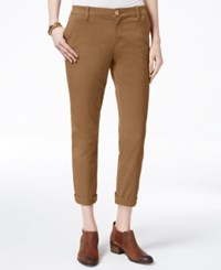 Tommy Hilfiger Cuffed Chino Straight Leg Pants Only At Macy's Tobacco Brown