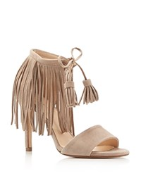 Kenneth Cole Mylah Fringe Lace Up High Heel Sandals Tortora