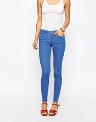 Asos Lisbon Skinny Midrise Jeans In Bluebell Bright Flat Blue Blue