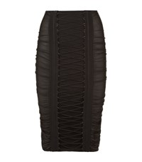 Balmain Ruched Lace Up Pencil Skirt Female Black