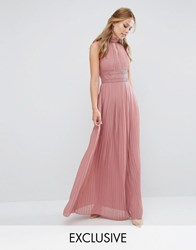 Tfnc Wedding Pleated Maxi Dress With Lace Detail Dusky Pink