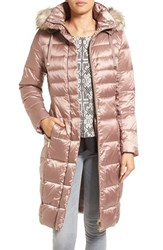 Eliza J Women's 'Cire' Faux Fur Trim Hood Long Down Coat Blush
