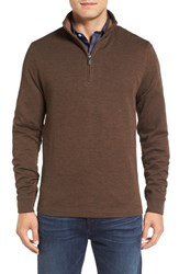 Bugatchi Men's Stripe Mock Neck Quarter Zip Pullover Sweater Mocha