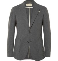 Oliver Spencer Grey Slim Fit Unstructured Cotton Flannel Blazer Gray