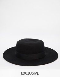 Reclaimed Vintage Wool Pork Pie Hat With Wide Brim 0