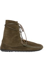 Maje X Minnetonka Suede Lace Up Boots Army Green
