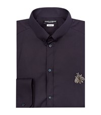 Dolce And Gabbana Embellished Bee Shirt Male Blue