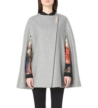 Ted Baker Collarless Wool Blend Cape Charcoal