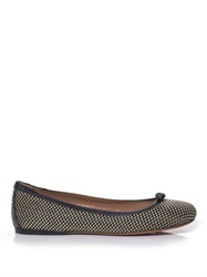 Azzedine Alaia Raffia And Leather Ballerina Flats