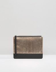 French Connection Mock Croc Mix Pouch Clutch Bag Courtney Rose Tan
