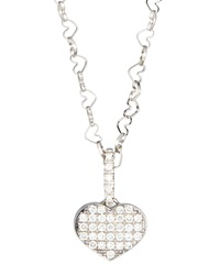 Nanis 18K White Gold Heart Pendant Necklace W Diamonds