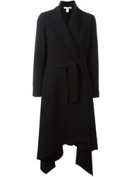 Oscar De La Renta Asymmetric Lapel Belted Coat Black