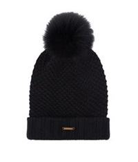 Burberry Fur Pom Pom Wool Cashmere Beanie Hat Black