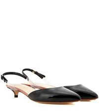 Francesco Russo Patent Leather Slingback Pumps Black