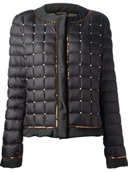 Fay Sequin Trim Quilted Jacket Black
