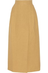 Delpozo Woven Faux Raffia Maxi Skirt Yellow