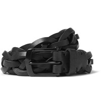 Oliver Spencer 3Cm Black Braided Leather Belt