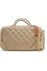 Red Valentino Redvalentino Leather Trimmed Quilted Metallic Canvas Shoulder Bag Gold