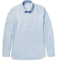 Caruso Slim Fit Penny Collar Cotton And Wool Blend Shirt Sky Blue