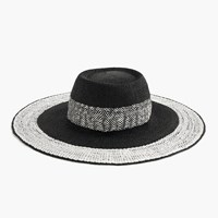 J.Crew Colorblock Straw Hat Black