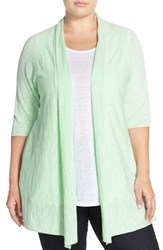 Plus Size Women's Eileen Fisher Organic Linen And Organic Cotton Straight Cardigan Green Mint