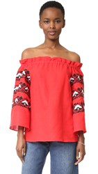 One By Lazuli Embroidered Off The Shoulder Top True Red