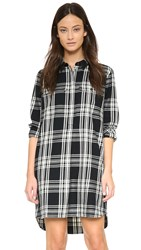 Madewell Emi Double Weave Plaid Shirt Dress Black White