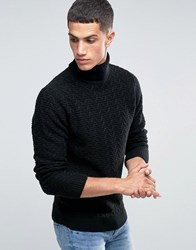 New Look Roll Neck Cable Knit Jumper In Black Black