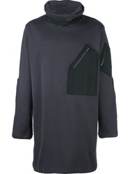 Y 3 Zip Pocket Oversized Jumper Grey