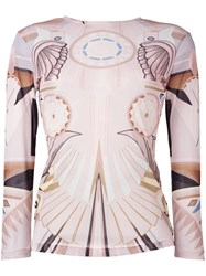 Givenchy 'Stargate' Printed Semi Sheer Top Pink And Purple