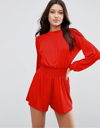 Asos High Neck Sheered Playsuit Bright Red Multi