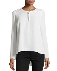Laundry By Shelli Segal Pleated Back Zip Blouse Pearl