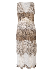 Chesca Scribble Print Dress Ivory Mocha