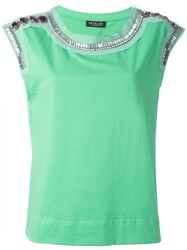 Twin Set Embellished Tank Green