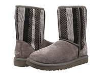 Ugg Classic Short Woven Suede Charcoal Suede Women's Pull On Boots Gray