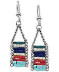 Kenneth Cole New York Silver Tone Colorful Beaded Drop Earrings
