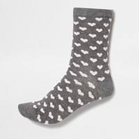River Island Womens Grey Heart Print Socks