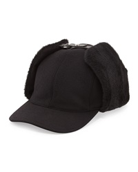 Prada Wool And Shearling Trapper Baseball Cap Black