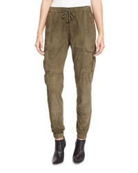 Haute Hippie Paneled Suede Cargo Pants Military