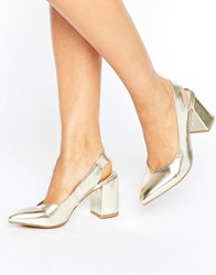 London Rebel Slingback Mid Heel Shoes Gold