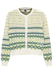 M Missoni Striped Fine Knit Cotton Blend Cardigan White And Green