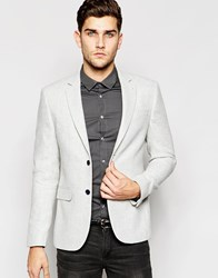 New Look Blazer In White Marl Winterwhite