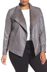 Sejour Plus Size Women's Asymmetrical Leather Jacket Grey Kitten