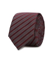 Peckham Rye Burgundy Striped Silk Jacquard Tie Red