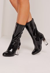 Missguided Patent Transparent Heel Ankle Boots Black