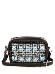 Rochas Crystal Embellished Leather Cross Body Bag Blue Multi