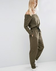 Asos Jumpsuit With Off Shoulder In Sweat Khaki Green